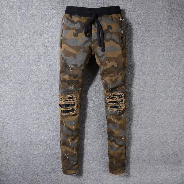 2019 nuovo AMIRI uomo piega pantaloni pieghe piedi pieghe camouflage popolare ginocchio giovani pantaloni gamba sottile