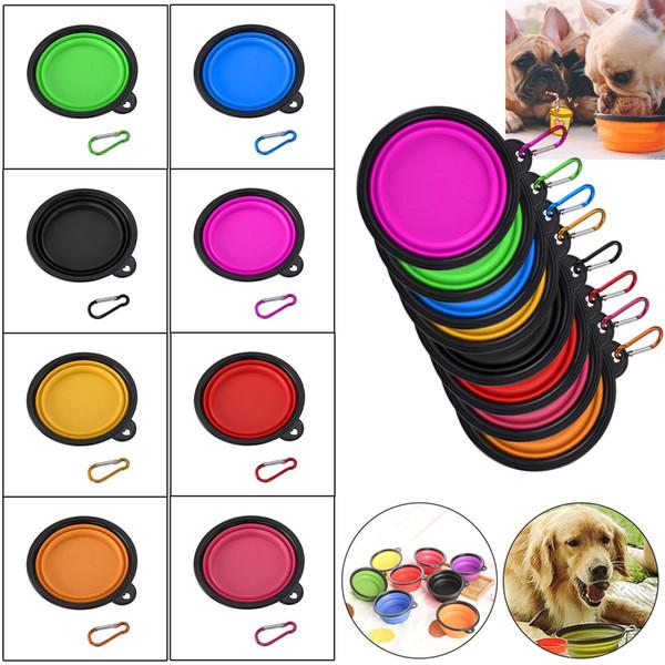 17 renkler Taşınabilir Silikon Katlanabilir Köpek Kedi Kase Yavru Pet Besleme Seyahat Kase Katlanabilir Pet Gıda su Kase Besleyici Bulaşık w / Kanca b1139-1