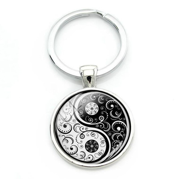 China Yin Yang Keychain Glass Cabochon Key Chains Best Friends Key Chain For Keys Car Bag TaiChi Sign Key Rings Jewelry BFF Friendship