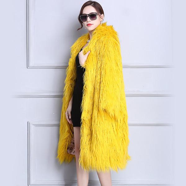 Nerazzurri Faux Fur Coat Winter Women 2018 With Hood Long Yellow Hairy Furry Fake fur Overcoat Oversized Loose Fluffy Outwear