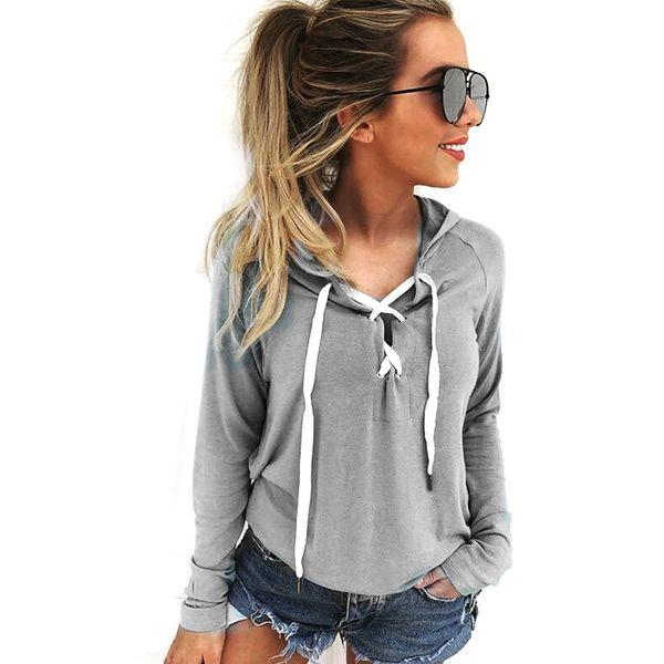 Women pocket Long Sleeve Hoodie Sweatshirt Casual Hooded Coat Pullover Tops