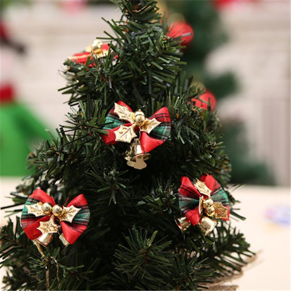 Red Christmas tree hanging decoration Xmas bowknot Ornament cute Christmas bow with metal bell home festival party supplies DHL FJ424
