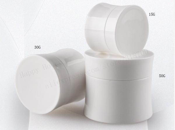 50 stücke x 15g 30g 50g Weiß Schwarz Kleine Leere Kosmetische Nachfüllbare Flaschen Kunststoff Lidschatten Make-Up Gesichtscreme Glas Topf Container