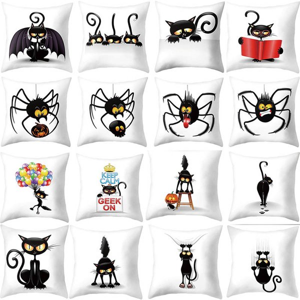 Trick Or Treat/Cat Spider Print Cushion Cover Super Plush Happy 2019 Halloween Throw Cushion Case 2019 Letter Print Pillow Cover