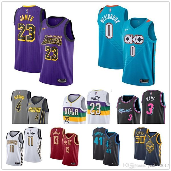 best service 62a9c b1475 2018 #30 Steph Curry Donovan Mitchell City Edition Lakers Joel Embiid Luka  Doncic Russell Westbrook Derrick Rose Victor Oladipo Baketball Jerseys From  ...