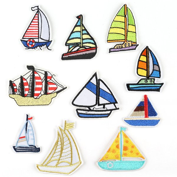 Cartoon Voyager Ship Boat Embroidery Patches Sea Sailing Sew Iron On Applique Patch Badge DIY Apparel Badges For Baby Kids Clothes Jeans Bag