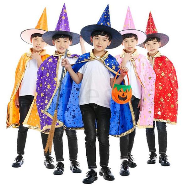 Capa del cabo de Halloween capucha + capa 2pcs / set Performer Magician Wizard para niños Estampado en caliente Capa de cinco estrellas Cape Hat Set niños ponchoDC731