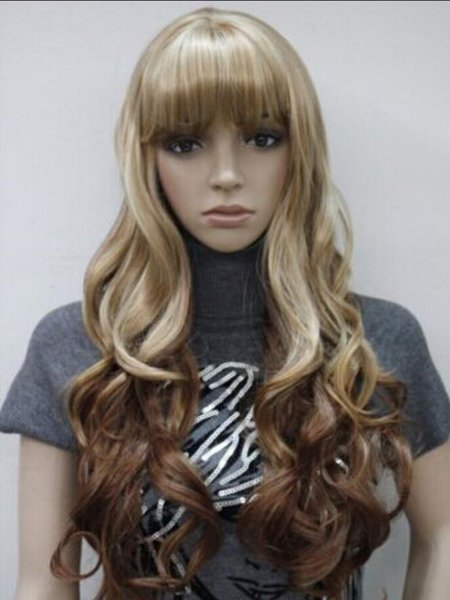 WIG LL<<< 0089 RUSSIA Brown + Blonde Mixed Long Wavy Women Ladies Daily wig bangs