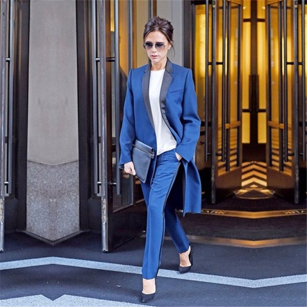 Women's Blue Black Business Suits Formal Office Pant Suits Ladies Work Wear 2 Piece Sets Slim New Designs Long Jacket + Pant