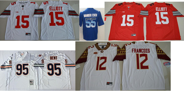Ohio State Buckeyes Mens #15 Ezekiel Elliott Vintage College Dallas 55 Leighton Vander Esch 95 Richard Dent American Football Team Jerseys