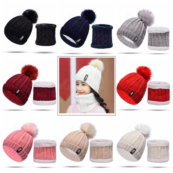 Knitted Hat Scarf Set Winter Warm Fleece Knitted Hats Mask Earflaps Set Pom Cap Women Men Kids Outdoor Crochet Hats HHA515