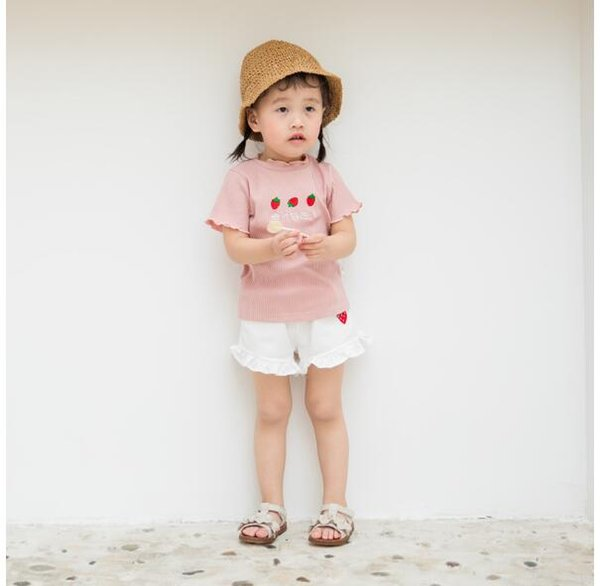 Girls embroidered short-sleeved T-shirt with wooden ear edge and children's fruit sweet cotton jacket INS explosive children's wear