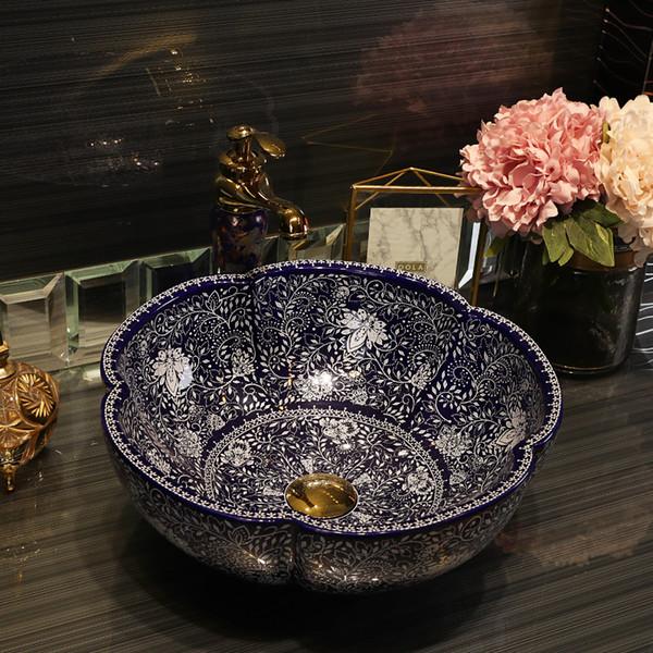 Europa Handgemachte Lavabo Keramik Waschbecken Luxurious Künstlerische Waschbecken Aufsatz- jingdezhen Porzellanbecken Spüle