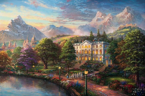 Thomas Kinkade Landscape Art Sound Of Music,Oil Painting Reproduction High Quality Giclee Print on Canvas Modern Home Art Decor