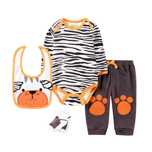 INS 2019 novo outono tigre bebê meninos ternos roupas recém-nascidos bonito zebra macacão de bebê + calça + babador + meias 4 pcs conjuntos infantis roupas de bebê menino A7485