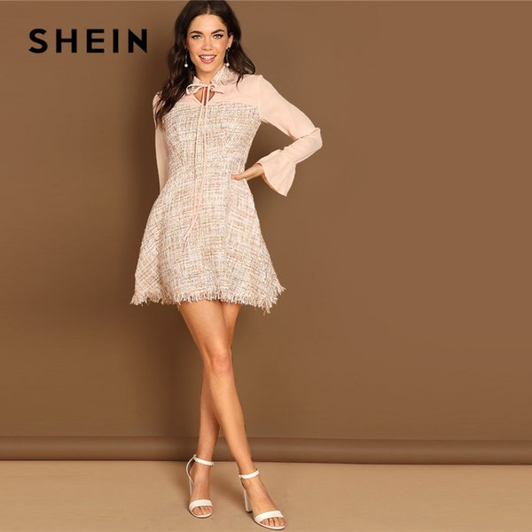 2a26f04050 SHEIN Apricot Tie Neck Mesh Panel Frayed Edge Tweed Stand Collar Flounce  Sleeve Dress Autumn Elegant Modern Lady Women Dresses