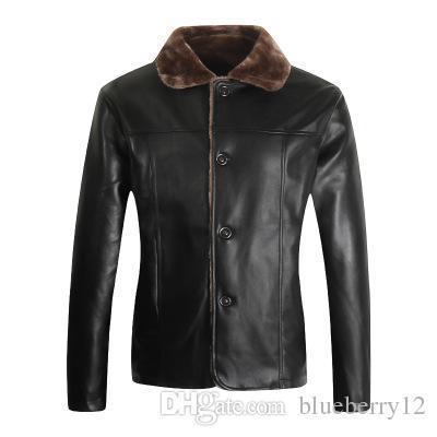Pop Warm Fleece Winter Fashion Stylish Brand Men's Leather Jacket Collar Stand Slim Motorcycle Faux Leather Male Coat Outwear Jacket