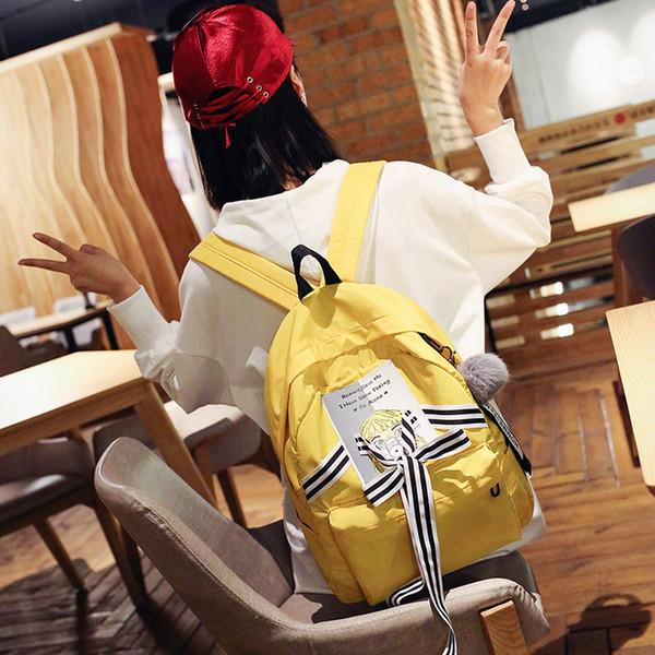 Printing Backpack Canvas Backpack Women School For Teenage Girls Kawaii Cute Bagpack Drawstring harajuku Mochila yellow