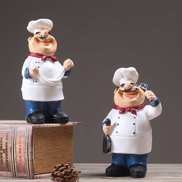 Rural Retro Cafe Restaurant Chef Home Furnishing Ornament Home Decor Gifts Cook Figure Chief Statue Kitchener Statuette Gift J190712