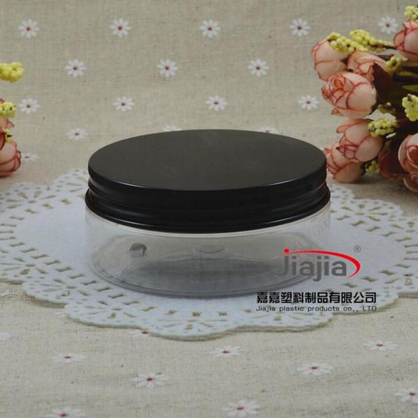 150г ясно ПЭТ Может алюминий Jar Candy Box Пластиковые Jar Упаковка на заказ металла может 150мл Контейнер с bladk алюминиевой крышкой