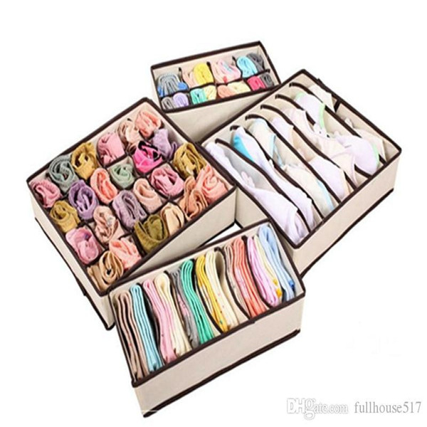 Set of 4 Foldable Drawer Dividers bra underwear and sock organizer Closet Organizers Cube Basket Bins Containers