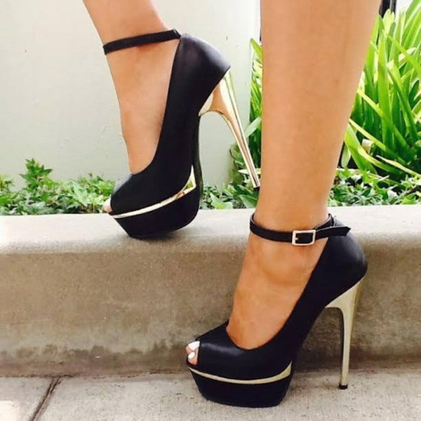 Kolnoo Simple Casual Womens High Heels Shoes Ankle Strap Party Prom Dressing Shoes Large Size Office&Career Fashion Evening Shoes D076