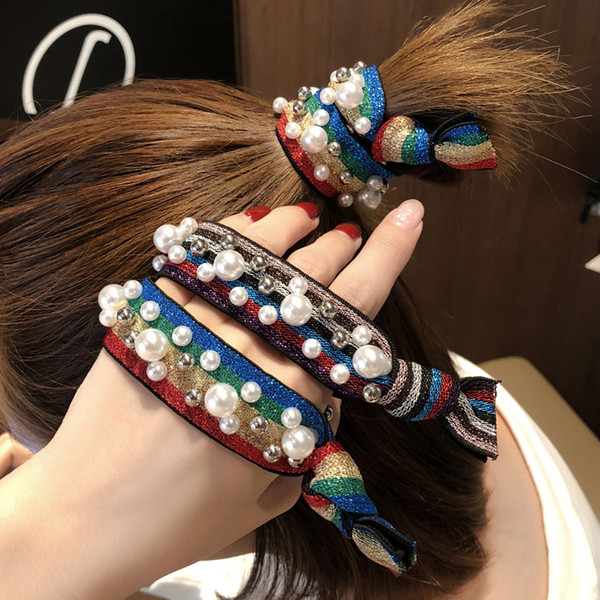 Women Hair Rubber Bands Fashion Leopard Cute Rainbow Pearl rivet Pony Tails Holder Headdress Hair Styling Tools Accessories for Girl Jewelry