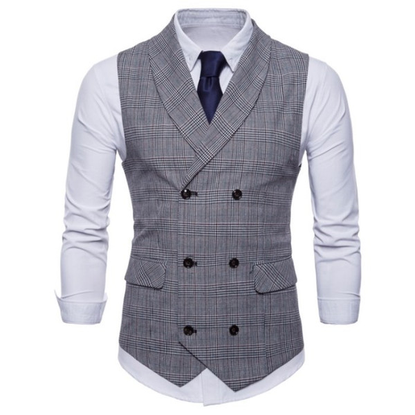 Vest British Casual Suit Waistcoat Male Double Breasted Vest Man Mens Tops Clothing Dress Slim Fit Gilet Homme