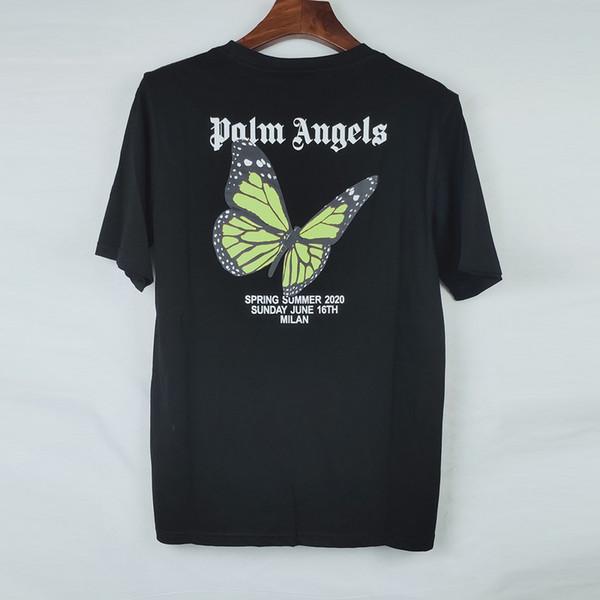 2020 Palm Angels T shirt Butterfly Print Short Sleeve Black T-shirt Men Women Hip Hop Tops Tee shirts Summer Casual Tshirt TNI0904