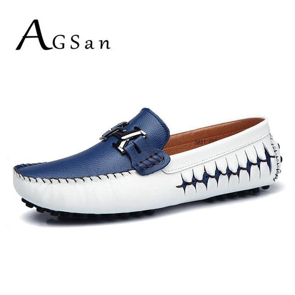 AGSan erkek makosenler hakiki deri ayakkabı erkek bot ayakkabı italyan tasarımcı sürüş Ayakkabılar mokasen mavi siyah üzerine slip