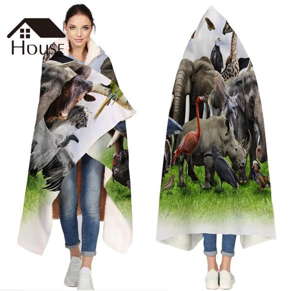 Couverture à capuche personnalisée portable moelleux 3D animaux sauvages zoo polaire à capuche couverture WrapBed