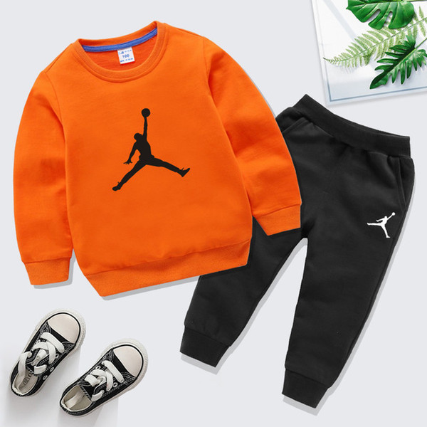 10 Colors Brand Designer 100% Cotton Kids Clothes Boys Girls Clothing Set Tracksuits Sportswear Long Sleeve Sweatshirt+Pant Set For Children