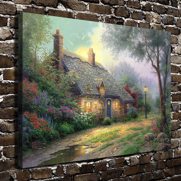 (Thomas Kinkade) Moonlight Cottage,1 Pieces Canvas Prints Wall Art Oil Painting Home Decor (Unframed/Framed) 16x24""