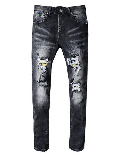 Fashion Men's black jeans pants motorcycle biker men washing Holes fold Trousers Casual Runway Denim jeans Free Shipping Good quality 28-40