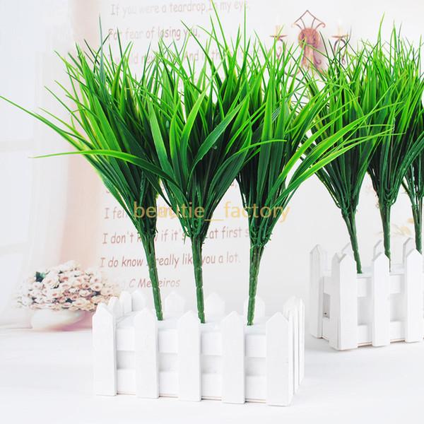 Decoración de pared de planta de hierba verde artificial Hojas de plástico Decoración de hogar de oficina Decoración de boda de jardín Envío gratis