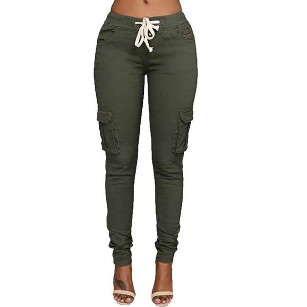 Lzmza Hohe Elastische Hosen Frauen Herbst Beiläufige Dünne Bleistift Hose Weibliche Taille Kordelzug Frühling Armee Grüne Hose S-xxl Q190510