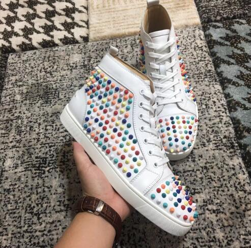 Red Bottom Spikes + Glitter Leather Sneakers For Women,Men Brand Designer Studs Flats Designer Casual Walking With Box,EU 35-46
