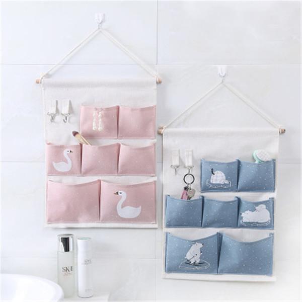 Hot Sale Wall Hanging Storage Bag 7 Pocket Fabric Linen Wall Mounted Wardrobe Closet Hang Bag Pouch Sundries Toy Organizer
