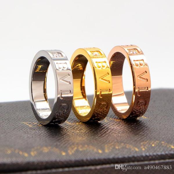 Nova alta jóias 316l titanium aço 18k rose gold amor cz anel das mulheres anel 18k banhado a ouro jóias finas