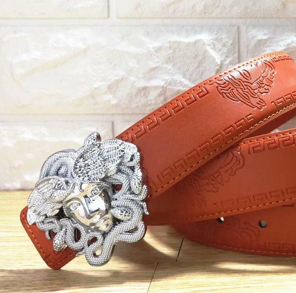 High quality luxury no buckle belt fashion grain genuine leather waiststrap band