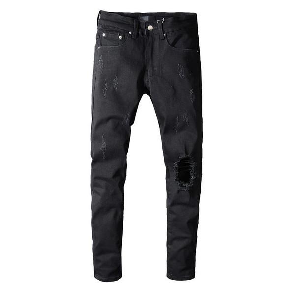 Moda Erkek Tasarımcı Kot Sıkıntılı Fermuar Kot Erkek Tasarımcı Biker Pantolon Hip Hop Yırtık Kot Pantolon