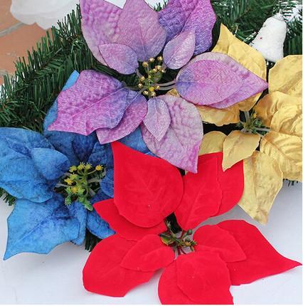 100 PCS 13/14/17/20/22 CM Para decoração de natal flores de seda artificial Xmas poinsétia cabeças de flor Vermelho / Ouro / Prata / Roxo / Azul CF06