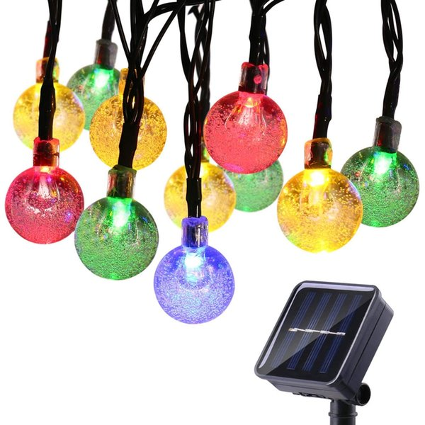 30 Led Solar Outdoor String Lights 20ft 30led Crystal Ball Globe Solar Powered Globe Fairy Lights Christmas Decoration Outdoor Lighting Clear String
