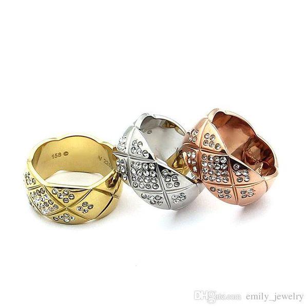 316L Edelstahl 9mm und 7mm Mode Diamant Ringe geschnitten Mesh Schmuck für Frau Mann Liebhaber Ringe 18K Gold-Farbe und stieg Schmuck Bijoux