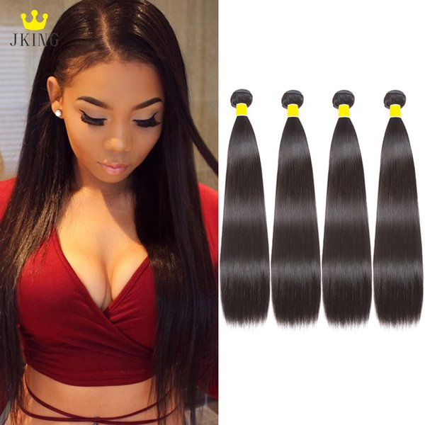 JKING 10A Malaysian Straight Human Hair 4 Bundles 100% Virgin Unprocessed Silky Straight Human Hair Weaves Bundles Natural Color Can be Dyed