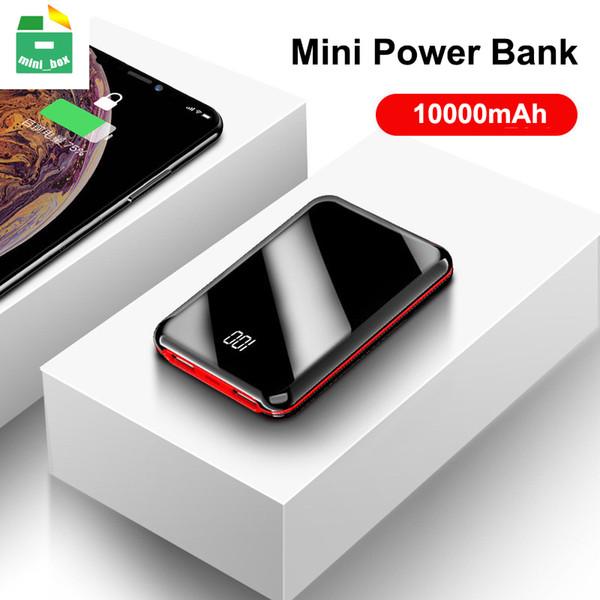 10000 mAh Taşınabilir Mini Güç Bankası Ayna Ekran Dijital Telefonları Için Disply Powerbank Harici Akü Powerbank