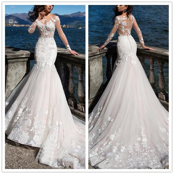 2019 Русалка свадебное платье с длинным рукавом и кружевными аппликациями Свадебные платья Сексуальные пуговицы без спинки Vestidos De Noiva