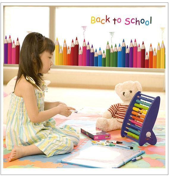 Karikatür renk kalem Süpürgelik Duvar Çıkartmaları çocuk odaları için kreş dekorasyon Oturma odası Yatak Odası Duvar Sanatı Çıkartması ev dekor