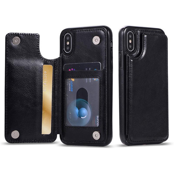 For iPhone Xs Max Xr S10 Lite 9 8Plus Wallet Case Luxury PU Leather Cell Phone Back Case Cover with Credit Card Slots