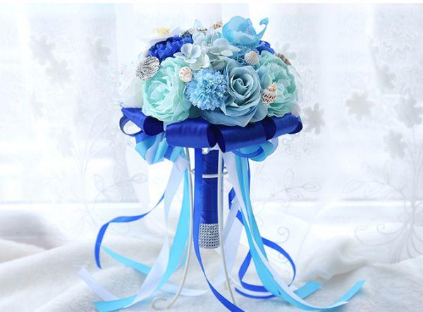 Ocean Blue 2019 Neue Braut Hochzeit Bouquet Künstliche Seide Rose Blumen Strand Braut Ehe Brautjungfer Haltegriffe Bling Starfish Beach
